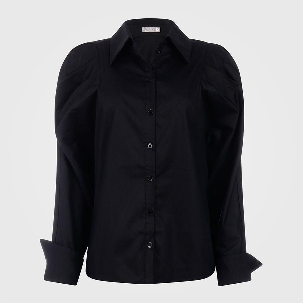 Camisa Feminina com Manga Bufante - Preto