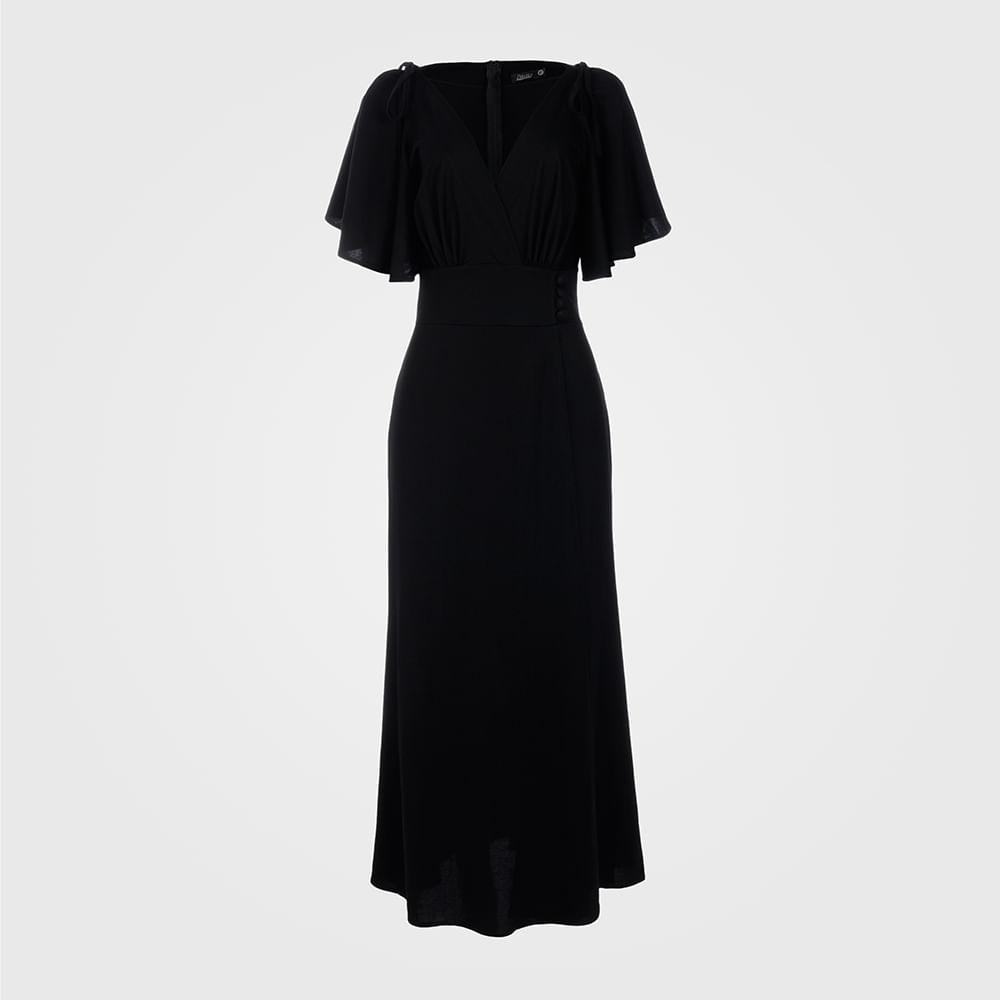 Vestido Feminino Transpassado Longo - Preto