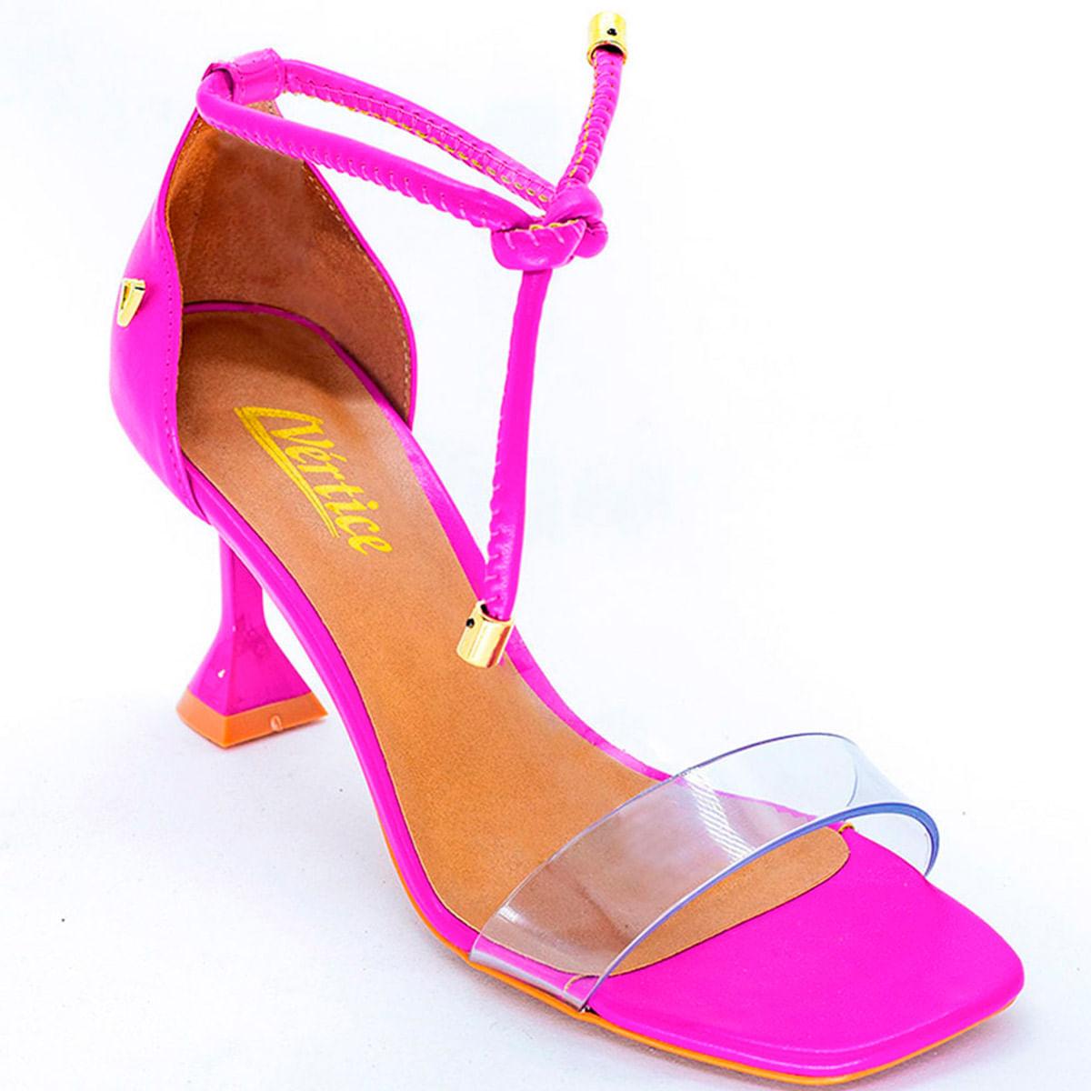 Sandália Feminina Salto Fino Flare Tira Transparente - Pink