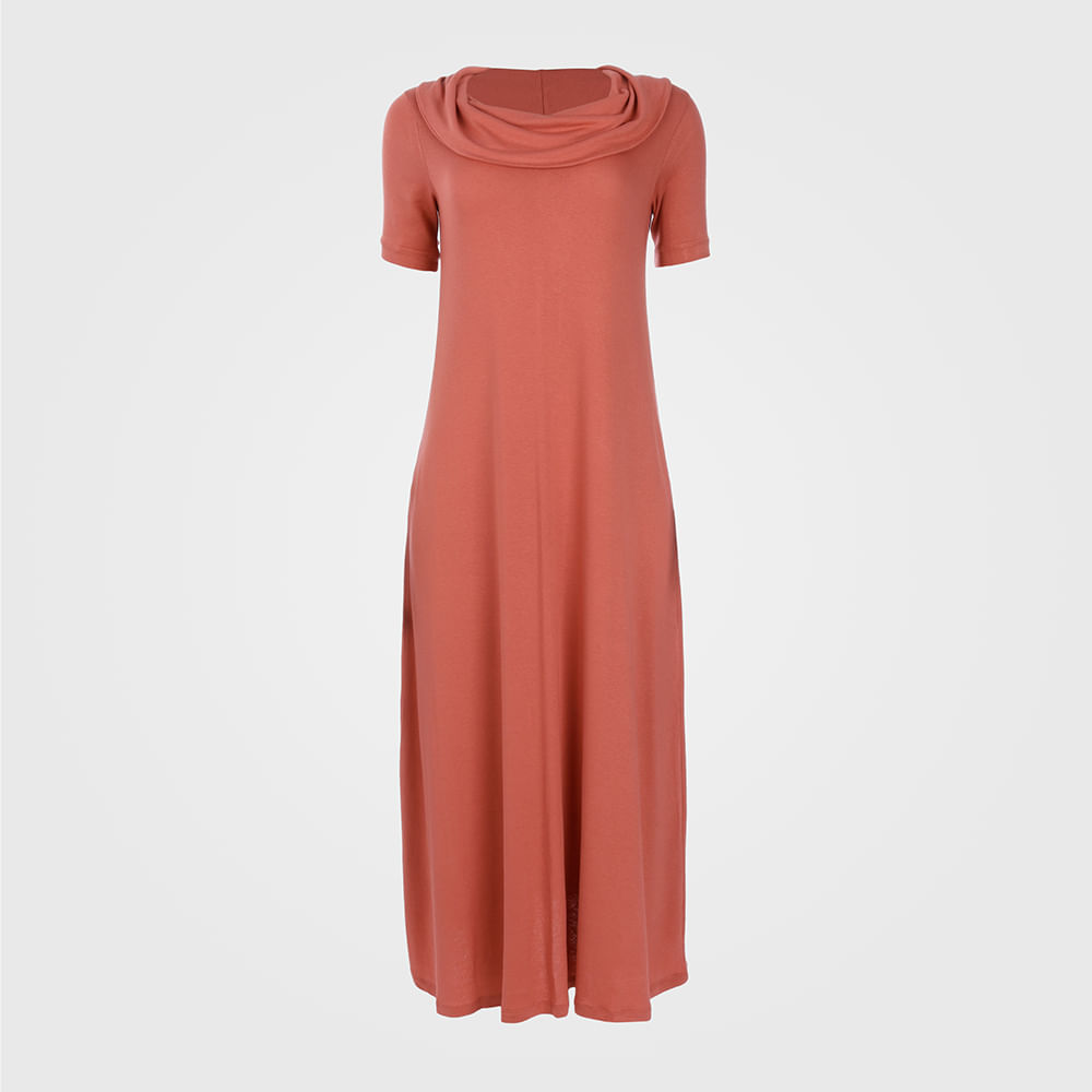 Vestido Feminino Longuete Malha com Gola Rolê - Coral