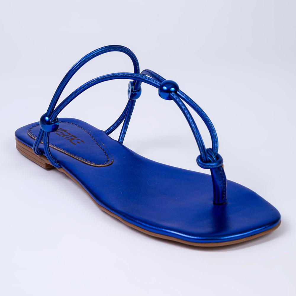 Rasteira Feminina Metalizada Regulável - Azul