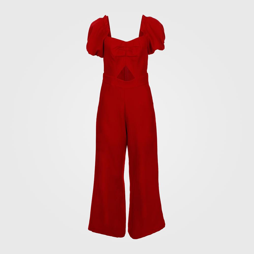Macacão Feminino Longo Pantalona - Vermelho