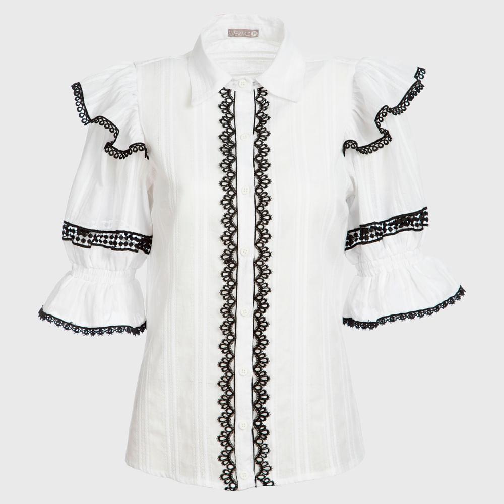 Camisa Feminina Manga Longa Com Babado E Guipir - Branco